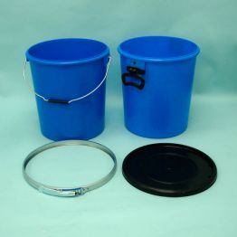 30 Litre Blue UN Approved Plastic Pail with Lever Ring Closure and Black Lid