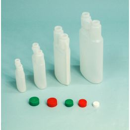 Twin Neck Child Resistant Plastic Dosing Bottle complete with Two CRC Caps